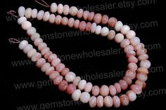 Pink Opal Smooth Roundel Quality A / 18 cm / by GemstoneWholesaler