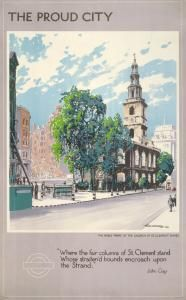 The proud city; the noble fabric of the church of St Clement Danes. (Farsi version), by Walter E Spradbery, 1944 Published by London Transport, 1944 London Transport Museum, Public Transport, London Poster, Poster Display, Railway Posters, Poster Series, London Underground, Vintage London, Vintage Travel Posters