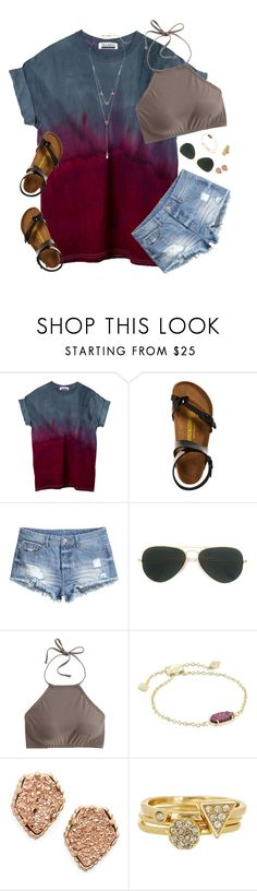 """"" by moseleym ❤ liked on Polyvore featuring Birkenstock, H&M, Ray-Ban, J.Crew, Kendra Scott, Ariella Collection and Rebecca Minkoff"