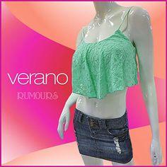 Blusa estilo crop con tirantes, en encaje.  Disponible en varios colores