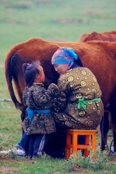 Mongolian mother and daughter