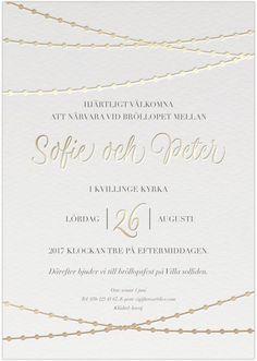 Dodded Elegance Inbjudningskort till bröllop med elgegant goldfolie
