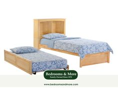 The Cinnamon Trundle Bed offers space-saving storage for kids' clothes & toys. Attractive styling & non-toxic wood finish. At Bedrooms & More Seattle.