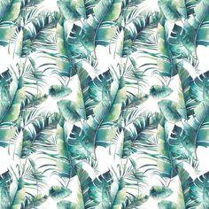 Verano palmera y hojas de plátano de patrones sin fisuras. textura de acuarela con ramas verdes sobre fondo blanco. diseño de papel tapiz tropical dibujado a mano Tropical, Patterns, Art, Models, Wall Papers, Green Leaves, Branches, Tecnologia, Block Prints