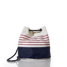 Red Mariner Stripe Convertible Bucket Bag