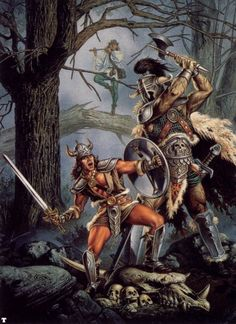 Party of 2 m Fighter plate Sword m Bard flute in tree vs m Giant forest hills Artist Clyde Caldwell