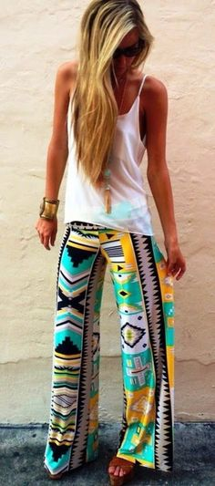 pants top with egyptisk print pants, aztec, tribal pattern lounge pants flowy pants colourful teal yellow aztec