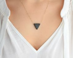 14K Gold Triangle Lava Necklace, Essential Oil Diffuser, Dainty Gold Filled, Clay Lava Bead, Minimalist, Modern Aromatherapy Jewelry
