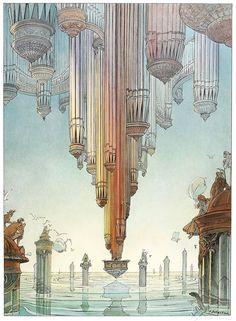 JIJ creëert, JIJ tekent -> je kunt dus ook iets laten bestaan dat in het echt niet kan.  François Schuiten - Grand Orgue (Organ)