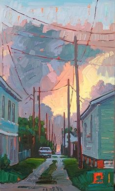"""Stormy Morning,"" by Rene Wiley by Rene' Wiley Gallery Oil ~ 20 x 12"