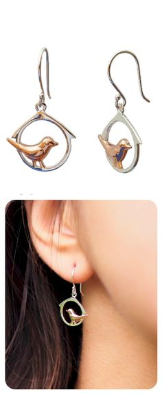 Earrings  ||  Sterling Silver, Rose Gold Plated Bird  ||