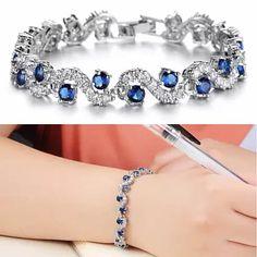 OCEANA Diamond Crystal Bracelets In White Gold Plating #VistaShops