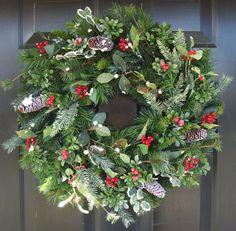 Holiday Wreath- Winter Wonderland Christmas Wreath- Berry Winter Wreath- Faux Evergeen Wreath on Etsy, $80.00