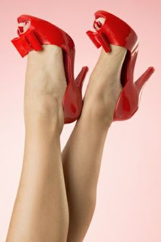 Mel Shoes - Chantilly Bow Peeptoe Pump in Red Mel Shoes, Pin Up Style, My Style, Sandy Grease, Melissa Shoes, Sexy Heels, Shoe Brands, Discount Shoes, Heeled Mules