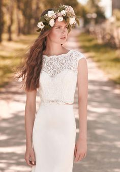 Mikaella gown with sheath silhouette and illusion neckline, including beaded and lace embellishments I Style: 2053 I https://www.theknot.com/fashion/2053-mikaella-wedding-dress?utm_source=pinterest.com&utm_medium=social&utm_content=june2016&utm_campaign=beauty-fashion&utm_simplereach=?sr_share=pinterest