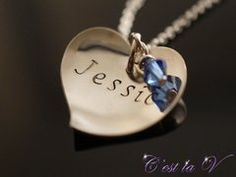Love's Embrace Hand stamped and personalized sterling silver necklace. Includes heart tag (to be stamped), Swarovski crystal, and chain.    $62     Etsy Store: https://www.etsy.com/ca/shop/cestlavjewelry?ref=hdr_shop_menu