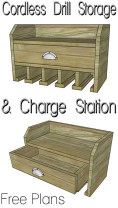 Organize your tools! Free plans for a DIY cordless drill storage and battery-charging station. #woodworking