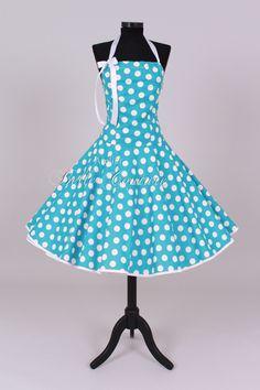 50er Jahre Kleid türkis/weiß