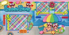Beach Bums 2 Premade Scrapbook Pages Paper Piecing Layout 4 Album Summer Cherry | eBay