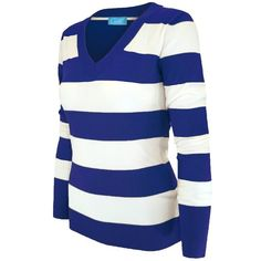 Cielo Women's Soft Contoured Horizontal Striped Pullover/cardigan... ($16) ❤ liked on Polyvore featuring tops, cardigans, cardigan pullover, pullover cardigan, pullover tops, blue cardigan and blue pullover