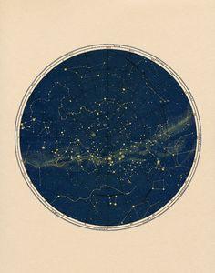 Black Constellation Chart Print in Circular by CapricornPress