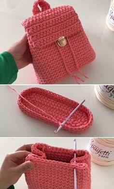 Pretty Easy Backpack - Tutorial (Beautiful Skills - Crochet Knitting Quilting - Knitting and crochet -Crochet Pretty Easy Backpack - Tutorial (Beautiful Skills - Crochet Knitting Quilting - Knitting and crochet - Crochet backpack women Crochet Backpack Pattern, Crochet Purse Patterns, Bag Pattern Free, Crochet Tote, Crochet Handbags, Crochet Purses, Love Crochet, Crochet Crafts, Beautiful Crochet