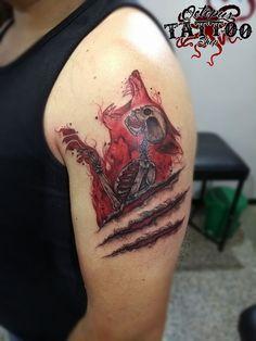 Tatuaje hombre brazo esqueleto garras lobo color Realizado en Octopus Tattoo Shop Por Sergio Rueda Facatativá - Cundinamarca Whatsapp: 3133398444