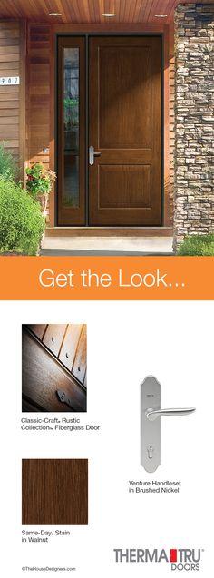 Therma-Tru Classic-Craft Rustic Collection fiberglass door with energy-efficient Low-E sidelite.