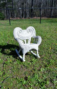 Vintage Wicker Rocking Chair Child Size Rocker by PanchosPorch