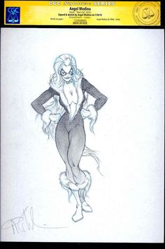Black Cat Original Sketch by Angel Medina CGC SS Graded signed SPIDER-MAN   eBay