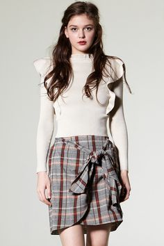 Dula Check Wrap Skirt Discover the latest fashion trends online at storets.com