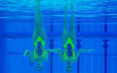 Giulia Lapi and Mariangela Perrupato of Italy in action during the duets competition at the Olympic Games Synchronised Swimming qualification London 2012 Test Event at the Aquatics Centre, London
