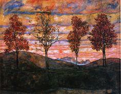 Egon Schiele - 1917 Four Trees oil on canvas