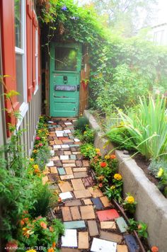 old door garden gate and garden path made from upcycled scrapwood bits