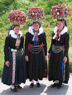"Brautkronen ""wedding crowns"" worn by unmarried women until they are married."