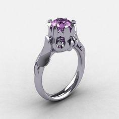 Natures Nouveau 950 Platinum Lilac Amethyst Wedding Ring, Engagement Ring NN105-PLATLA
