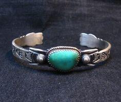Navajo Old Style Turquoise Silver Bracelet Martha Cayatine Handmade Sterling Silver, Sterling Silver Bracelets, Silver Beads, Silver Jewelry, American Indian Jewelry, Turquoise Stone, Turquoise Bracelet, Navajo, Men