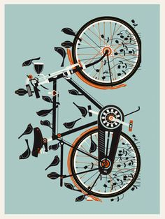 """ORIGINAL BIRD BIKE ART PRINT -4TH EDITION  by Robert Lee  18"""" x 24"""" / 180 edition - 3 colors - signed and numbered  $25"""