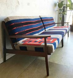 Pendleton wool upholstered mid century couch for the WIN! Linen Upholstery Fabric, Living Room Upholstery, Upholstery Repair, Upholstery Cushions, Furniture Upholstery, Upholstery Tacks, Upholstery Cleaning, Sofa Styling, Design Blogs