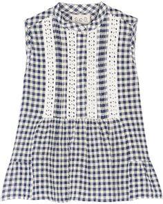 SEA Crochet-Paneled Stretch-Cotton Gauze Top