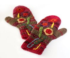Collage mittens, knitting, crochet, by Peony and Parakeet
