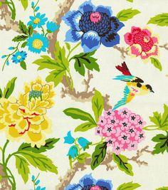 $21/yd Home Decor Print Fabric- Waverly Candid Moment Gardenia