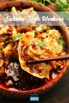 The spicy and aromatic sauce coating these tender pork wontons is the real star of this Sichuan classic.