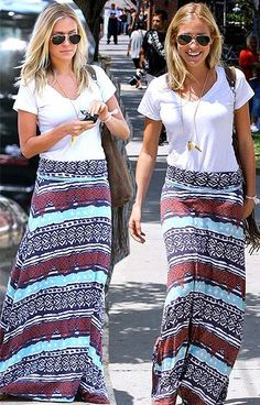 Adorable long maxi skirt and t-shirt combo