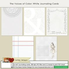The Voices of Color - White Journaling Cards by Baers Garten Designs - Two Peas in a Bucket