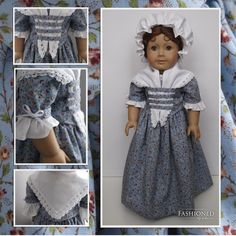 """The """"Colonial Blue"""" 4 piece ensemble made for 18"""" American Girl dolls. $90.00, via Etsy."""