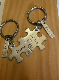hand stamped keychain personalized keychain couples anniversary