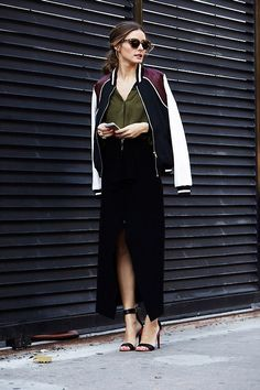 // FASHION // SPORT LUXE // SPORT CHIC // OLIVIA PALERMO // STREET STYLE // BOMBER JACKET // SKIRT // HEELS //