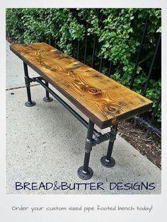 Reclaimed Wood & Steel Pipe Bench by BreadandButterTO on Etsy, $298.13