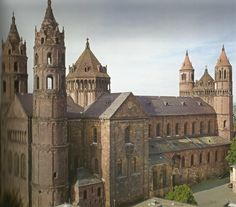 Worms Cathedral, Germany northwest view. A great example of German Romanesque Architecture.